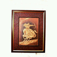 Mongol,3D,Leather,handmade,contemporary ART,warrior,bow, fathers day, gift for him,for him,wall hanging