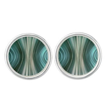 Glacier Green Driving Dreams Round Cufflinks