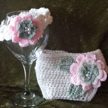 Crochet Triple Flower Diaper Cover / Cozy Set with Headband