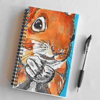 Squirrel Journal, Blank Notebook, Sketchbook, Spiral Bound Journal, Squirrel Watercolour Print