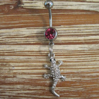 Belly Button Ring - Body Jewelry -Tiny Studded Rhinestone Lizard with Pink Gem Stone Belly Button Ring