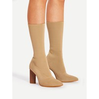 Apricot Pointed Toe Mid Calf Block Heel Boots