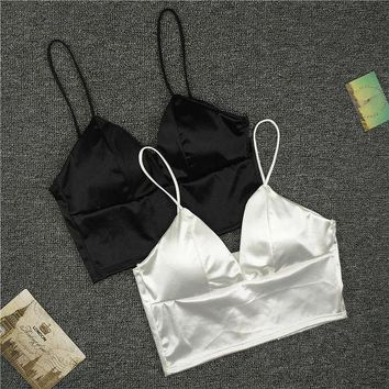 DKLW8 Sexy Women Sexy Strap Silk smooth Plunge Bralette Bra Sleeping brassiere Push Up Bras sexy lingerie Top wireless bra top