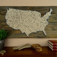 USA Map | String Art | reclaimed wood | Shabby Chic | Wedding Gift | Wall Decal | America Map | Map Art | Map of USA | Husband Gift