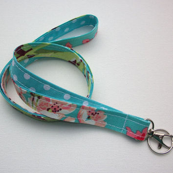 Lanyard  ID Badge Holder - Anchors - Lobster clasp and key ring - Love bliss white polka dots on aqua two toned double sided