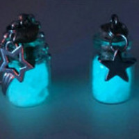 Starlight in a  Bottle Glowing Charm Necklaces Choose Your Charm from the Sky Above, Moons Stars Snowflakes and the Sun