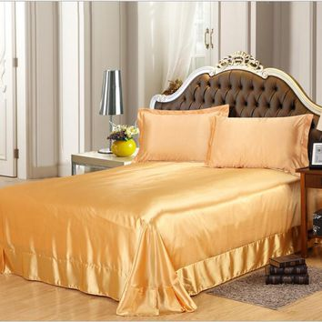 Golden Imitated Silk Bedding Bed Sheet 1/3pcs Solid Color Bed Cover Soft Super Flat Sheet Twin Queen King Size Home Textile