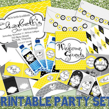 PRINTABLE - Black, Yellow, Gray - 14 Piece Birthday Party Set - Personalized Invitation, Banner, Cupcake Toppers, Favor Tags, Thank You, Etc