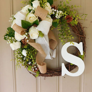 White Rose Grapevine Wreath With Burlap With Monogram. Year Round Wreath.  Spring Wreath.