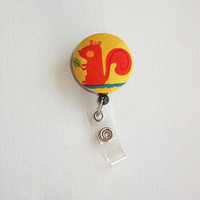 Retractable ID Badge Holder - Fabric Button - Orange Squirrel