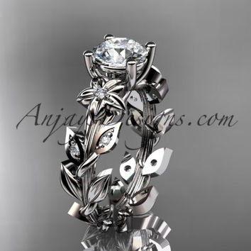 "Platinum diamond floral leaf and vine wedding ring, engagement ring with a ""Forever One"" Moissanite center stone ADLR215"