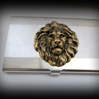 Lion head business card holder-credit card holder-stainless steel card holder-gothic card holder-steampunk card holder