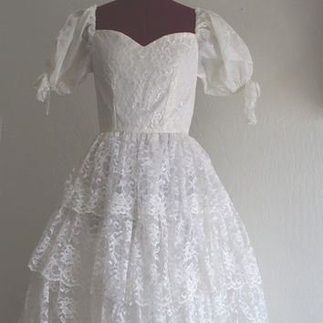 Vintage 1950s Wedding Prom Formal Lace Dress by KheGreen on Etsy