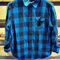 Buffalo Flannel Plaid Shirt 90s Button Up Grunge Blue Black 90s Oversized Long Sleeve Vintage Lumberjack Oversize Men Womans grungy XL L M