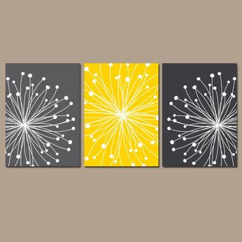 DANDELION Wall Art, CANVAS or Prints Gray Yellow Bedroom, Bathroom Decor, Bedroom Pictures, Flower Dandelion Set of 3 Home Decor Wall Decor