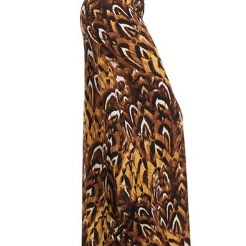 Feathered Cheetah Print Palazzo Pants