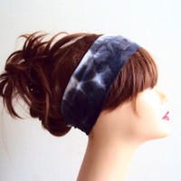Tie Dye Headband Black and Grey Hand Painted Yoga Bandana Gym Workout Running Fitness Beach Women Hair Accessories