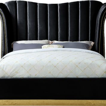 Flora Black Velvet Queen Bed