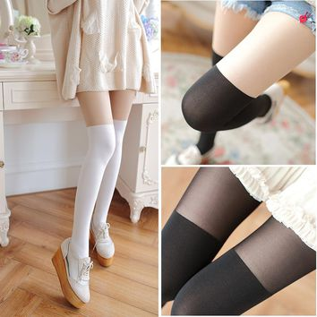 Autumn Japanese woman high tube stockings wholesale fake stitching velvet pantyhose anti false thigh hook silk tights