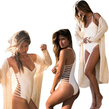 White Side Cut Out Halter Back Cross One Piece Swimsuit