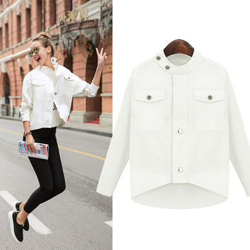 2016 Spring Summer Casual Buckle Button  Long Sleeved Women White Jacket