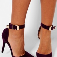 Missouri Plum High Heel Ankle Buckle Shoes | Pink Boutique