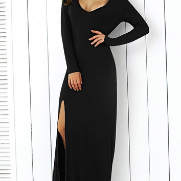Black Long Sleeve High Slit Maxi Dress