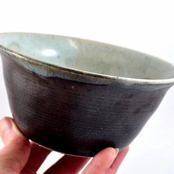 Handmade Ceramic Bowl - Soup Bowl - Noodle Bowl - Fruit Bowl - Salad Bowl - Matt Black Cream - Unique Pottery - Home Decor - Dawn Whitehand