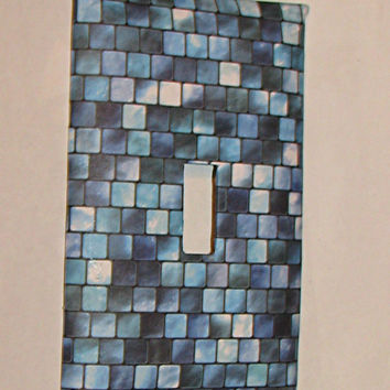 Light Switch Cover - Light Switch Plate Mosaic Turquoise Blue