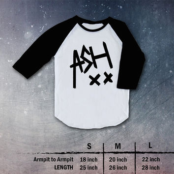 5SOS Ashton Irwin Shirt  5 Seconds of Summer Top TShirt T Shirt Raglan Baseball 3/4 Sleeve Black White Red- Size S M L