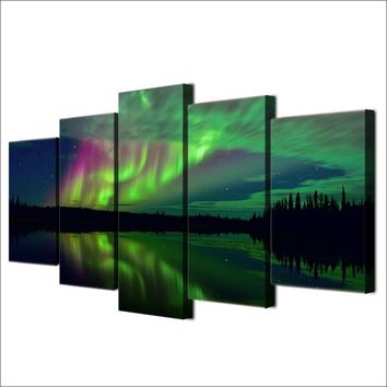 Aurora Lake Shadow Night Landscape HD Printed Painting On Canvas Posters