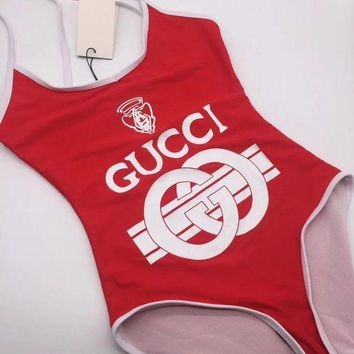 Gucci Fashion Women Letter Print Backless U Collar Vest Type One Piece Bikini Swimsuit Red I/A