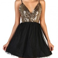 Lovely Sequin Dress - Black/Gold