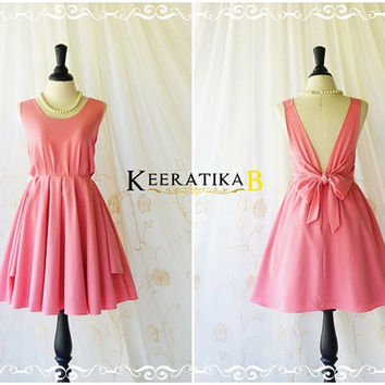 A Party V Charming Dress Backless Bubblegum Pink Prom Party Dress Wedding Bridesmaid Dresses Cute Pink Cocktail Backless Dress XS-XL Custom