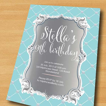 Elegant birthday invitation, sweet baby blue glam design invitation for any age 1st 2nd 3rd 4 5 6 18 16 birthday Party invitation - card 287