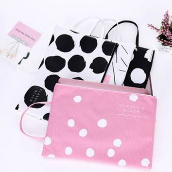 Printed Dot Tote Waterproof A4 File Holder Test Kit Student Pouch Home Office Storage Organizer Bag Travel Accessories