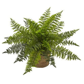 "15"" Ruffle Fern Bush w/Burlap Base (Set of 2)"