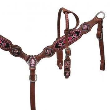 Beaded Pink and Rhinestone Pony tack set