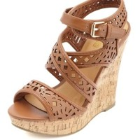 Laser-Cut Strappy Platform Wedges by Charlotte Russe - Cognac