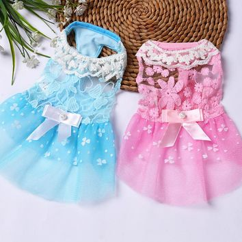 Summer Breathable Dog Dress Puppy Clothes Wedding Princess Skirt Pink Luxury Puppy Cat Dresses for Small Dog Teddy Spring 25