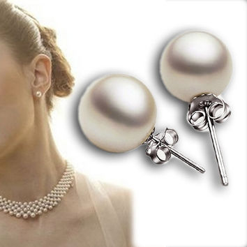 Chic Fashion 3 Size Women's Real White Freshwater Pearl Ear Stud Earrings Gift = 1706377092