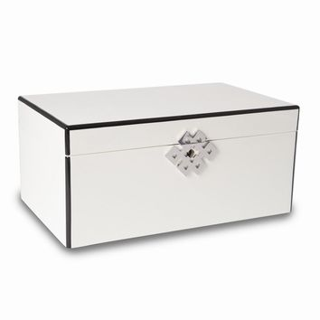 White Lacquered Wood 3 Level Jewelry Box