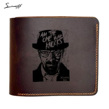 Genuine Leather Wallet Male Custom Name Gift Purse Laser Engraved Funny Breaking Bad Movie Wallets Purse Men