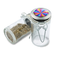 Glass Jar - Dazed Spin Illusion - 75ml Herb and Spice Storage Container
