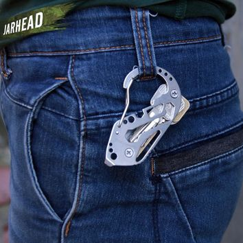 Outdoor EDC Equipment Stainless Steel Wrench Screwdriver Key Holder Multi-Tool Carabiners Keychain Hiking Camping Gear