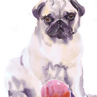 Dog watercolor  painting,  dog wall decor,   puppy,  animal , art print, pug