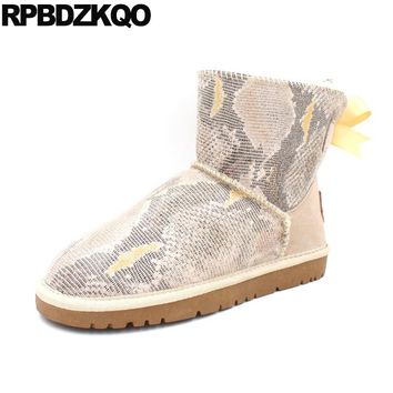 Warm Bow Flat Winter Booties Fashion Snow Boots Women Ankle Fur Shoes Snake Beige Slip On 2017 Ladies Female Short Snakeskin