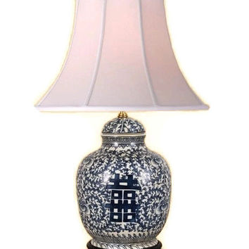Beautiful Blue and White Porcelain Ginger Jar Table Lamp Double Happiness 27""