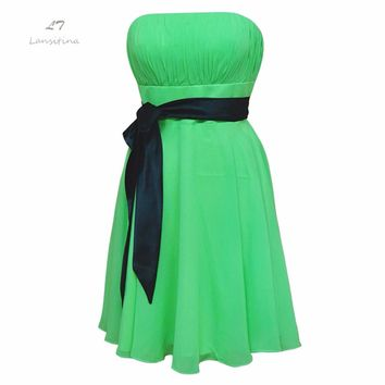LANSITINA Bridesmaid Dress simple strapless wedding party gowns with black Sash 2017 green Chiffon Bridesmaid Dresses