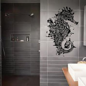 ik1894 Wall Decal Sticker seahorse steampunk bathroom living room